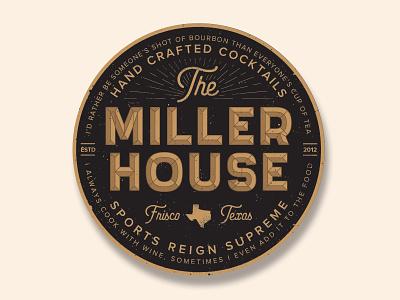 Miller House Coaster golden vintage design typography circle illustrator vector texture illustration wine whiskey frisco texas coaster