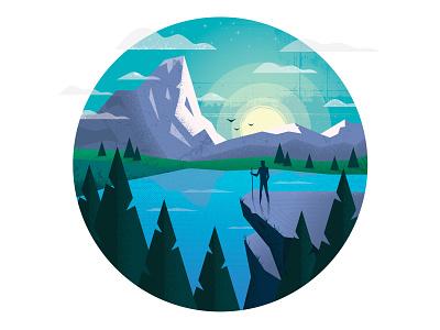 The Great Outdoors mountain light bird green blue nature flat design art adobe illustrator circle illustration
