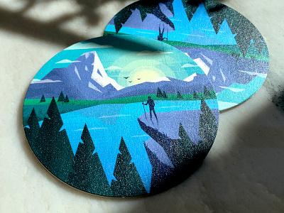 Great Outdoors Coaster design flat illustration circle adobe illustrator mountain nature blue green vector illustrator coaster