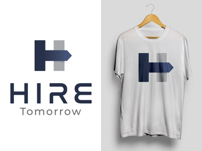 Hire Tomorrow business brand logo mark branding design branding logodesign blue logo vector