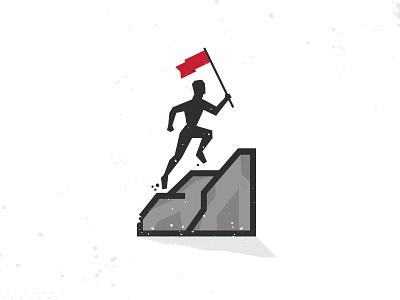Take Me To The Top illustration logo performance development growth rock flag running man