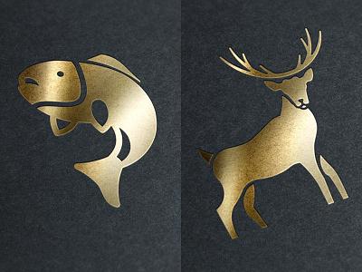 Illustrations buck antlers elk animal deer gold stag fish illustration