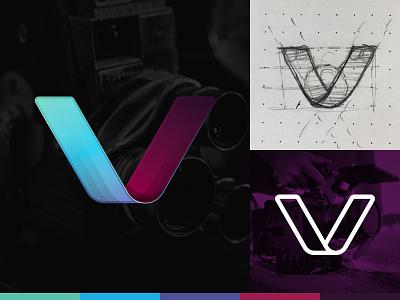 V Logo Concept branding identity mark icon shadow film v process illustration logo