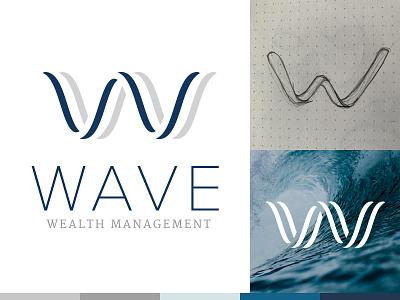 Wave Wealth Management illustration icon financial process mark wave branding identity logo