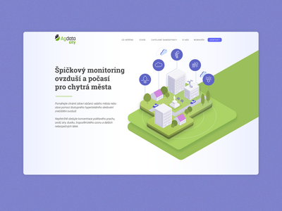 Landing page for Agdata City isometric vector startup tech illustration uidesign ux ui