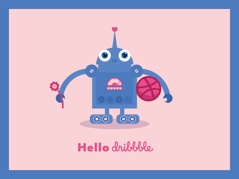 Hello dribbble hello dribble hello dribbble dribbble hello heart cute robot vector flat digital illustration
