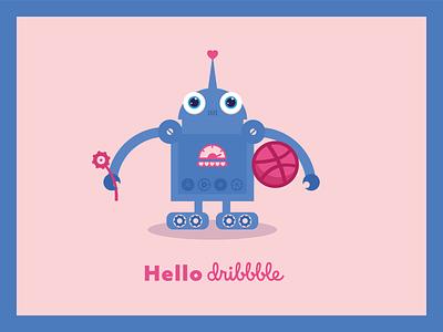Hello dribbble hello dribble hello dribbble dribbble hello heart cute robot vector flat digital illustration