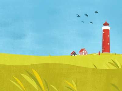 Lighthouse texture peaceful countyside photosop illustrator cc vector digital illustration