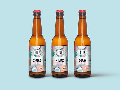 Byup beer Christmas edition design navidad noel beer label christmas illustration packaging bottle beer