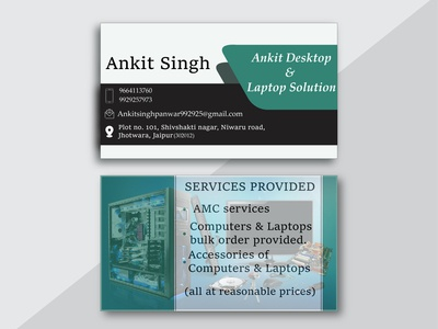 BUSINESS CARD FOR ANKIT DESKTOP AND LAPTOP SOLUTION