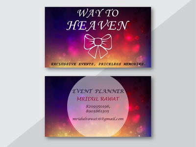BUSINESS CARD FOR WAY TO HEAVEN EVENT COMPANY