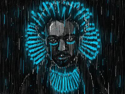 Awaken, My Love! hip hop childish gambino lights neon lines artwork illustration portrait rap music