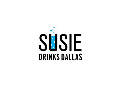 Susie Drinks Dallas texas dallas cocktail spirit alcohol drink typography identity branding logo