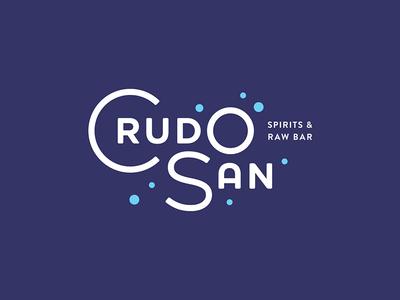CrudoSan 1 bubbles spirits seafood deco restaurant typography brand logo