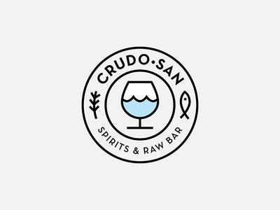 CrudoSan 2 fish ocean spirits seafood deco restaurant typography brand logo