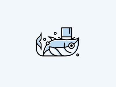 CrudoSan 3 character mark identity brand tuna hat sushi fish logo