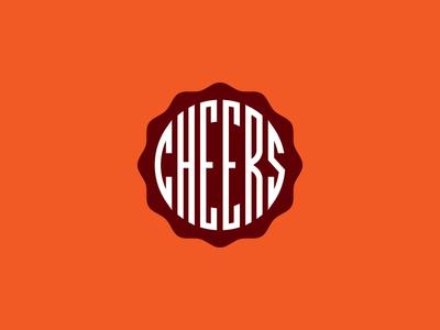Cheers cocktails beer badge seal deco lettering typography identity branding logo