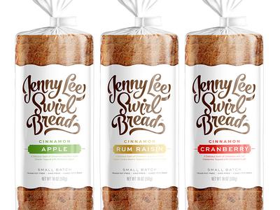 Jenny Lee Swirl Bread: Part II swirl script typography bread packaging identity branding logo