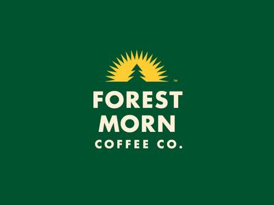 Forest Morn Logo sun tree pine coffee typography identity branding logo