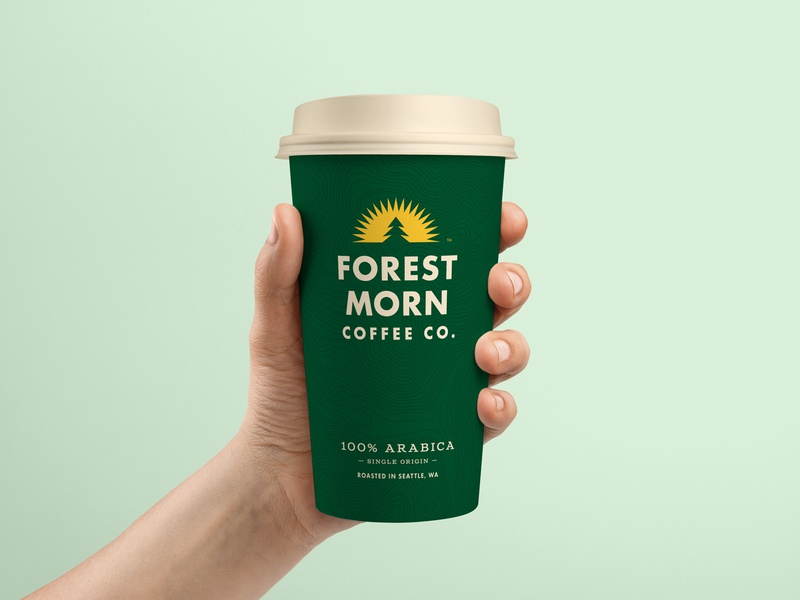 Forest Morn Cup brand identity tree logo sun pine tree coffee cup coffee packaging branding