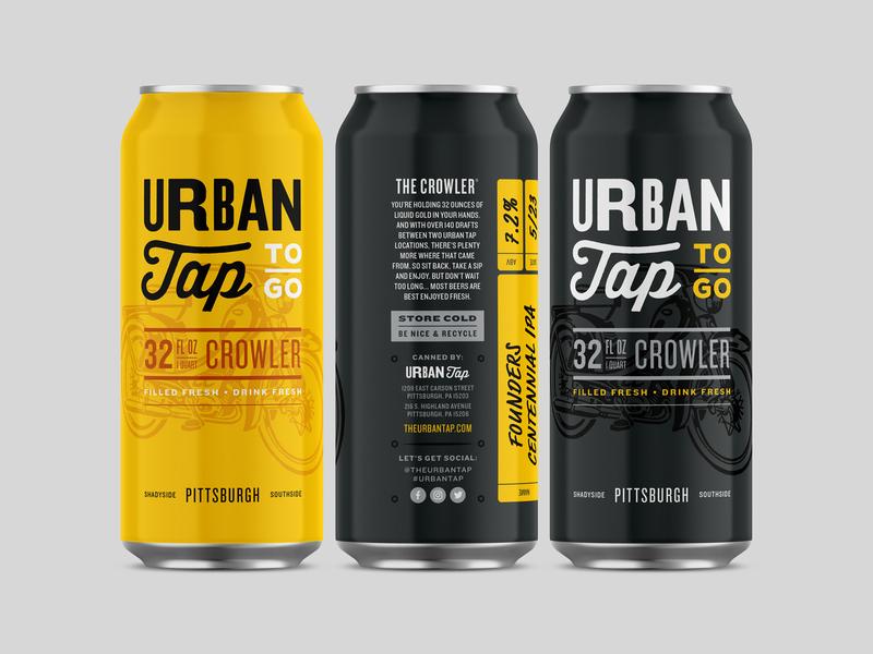 Urban Tap Crowler packaging typography motorcyle vintage can beer crowler