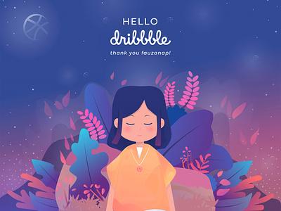 Hello Dribbble debutshot debut flatdesign flat icon vector design illustration