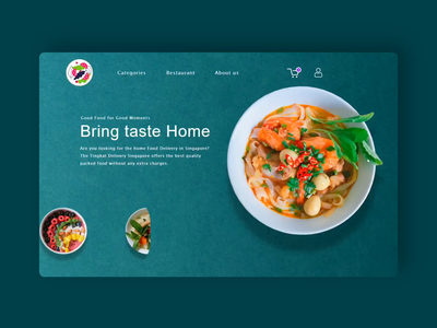 Food Interaction. website motion design interactive delivery service food restaurant interaction after effects animation design prototype animation 2020 trend web design landing page branding 2020 design ui sketch flat minimal figma