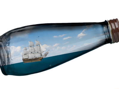 A ship in a bottle photoshop