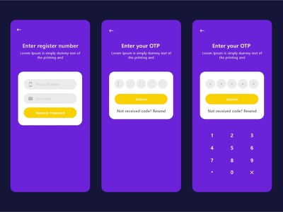 Password Recovery Screen UI Design ui kit screen design recovery otp