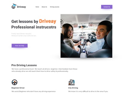 Driving School Web Design ui ux brand typography illustrator web icon logo branding graphic design web design