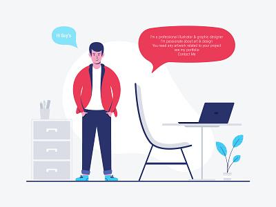 Kashif Arif  [ PRO ]  Illustrator artist graphic designer businessman man web graphic concept illustration custome work young graphic design contact me portfolio artowrk professional office character freelancer laotop startup workplace
