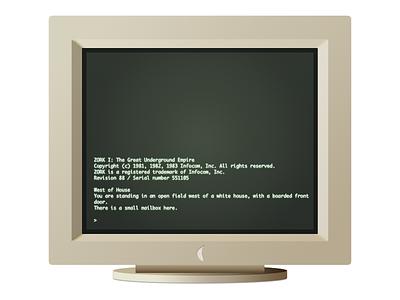 Old School Monitor vector ui text design illustration