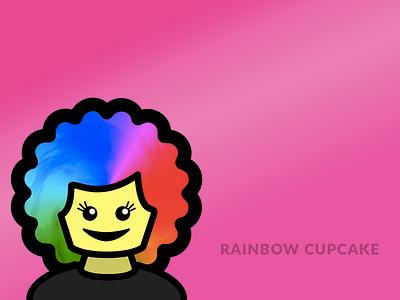 Rainbow Cupcake avatar vector design illustration