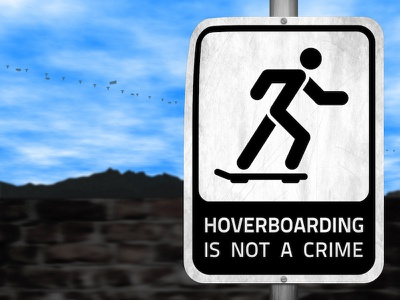 Hoverboarding Is Not a Crime personal graphic design sign illustration design