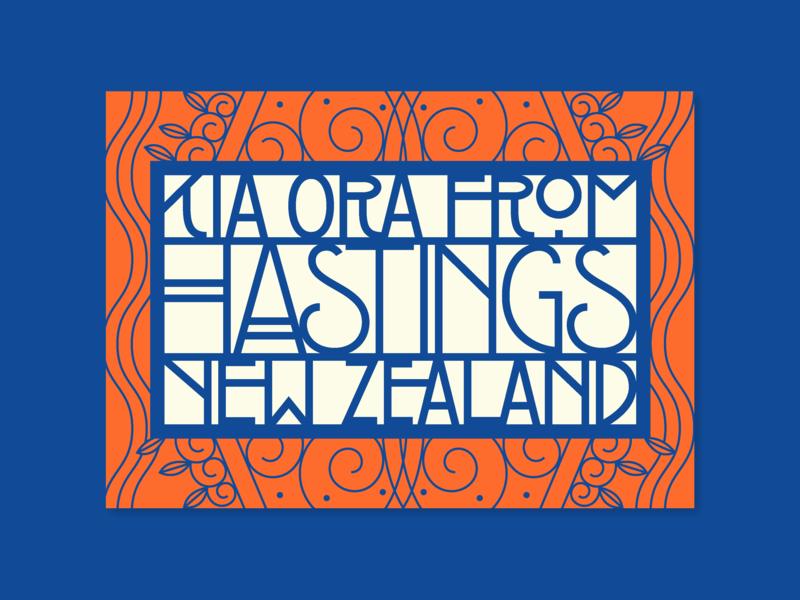 Lettering design art deco postcard lettering