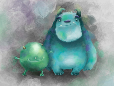 Mike and Sully - Monsters inc. characterdesign digitalart illustration drawing doodle sketch sully mike monstersinc disney