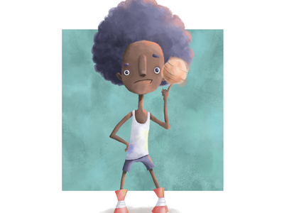 Basketball player characterdesign sketch doodle drawing illustration photoshop digitalart adobe photoshop tennis shoes ball ready player basketball player afro kids basketball