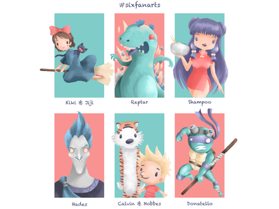 Six Fan Arts #2 anime shampoo ranma characters hades calvin and hobbes reptar donatello ninja turtles kikis delivery service studioghibli disney painting doodle sketch characterdesign drawing photoshop digitalart illustration
