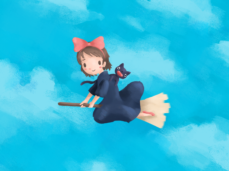 Kiki delivery service clouds cloud sky cat witch jiji kikis delivery service anime painting doodle sketch characterdesign drawing photoshop digitalart illustration studio ghibli kiki