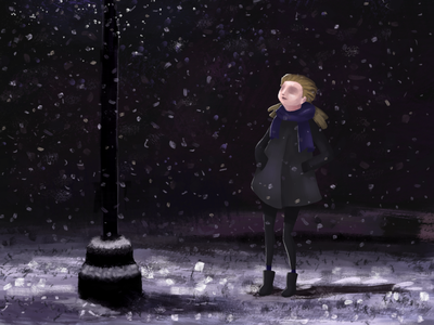 Snow lights painting doodle sketch characterdesign drawing photoshop digitalart illustration girl stop candle lights snow
