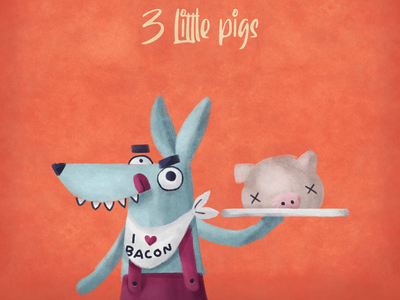 Three little pigs - Children's book fairy tale 3littlepigs pig wolf painting doodle sketch characterdesign drawing photoshop digitalart illustration children book illustration childrens book