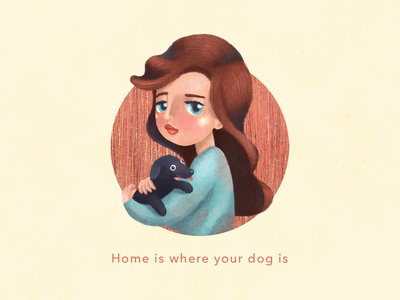 Home is where your dog is logo doodle design dog girl campaign sketch characterdesign drawing photoshop digitalart illustration