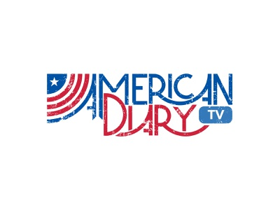 American Diary TV Logo Design By Designrar wordmark logo lettering lettermark grunge texture broadcast flag logo stars and stripes radio tv podcasts podcast logo hand lettering handlettering hand drawn handmade us flag american flag diary american america