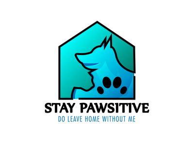 Stay Pawsitive Minimalist Logo By Designrar Cat+Dog+Paw+House