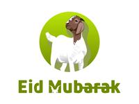 Modern Eid Mubarak Logo With Goat Mascot