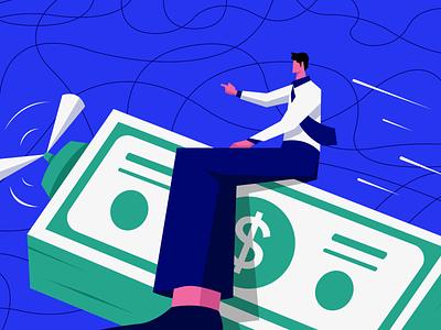 Quote-to-Cash - Blog illustration dollar flying subscription billing revenue cash money blog character graphic design visual design illustration illustrator