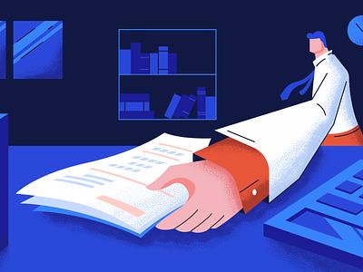 Bookings vs Billings vs Revenue - Blog illustration work man office employee corporate revenue billing paper character graphic design illustration illustrator visual design