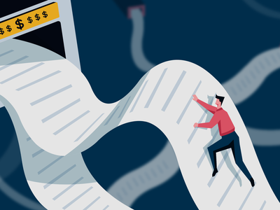 Quote-to-cash Process - Blog illustration paper climbing billing revenue money cash adobe illustrator visual design graphic design illustrator illustration