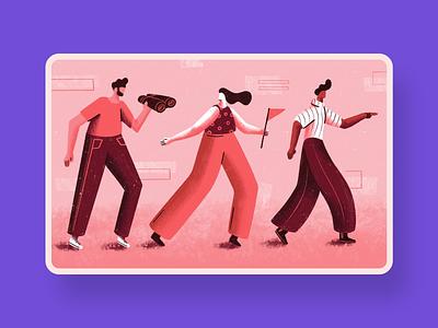 Building a Culture for Change - Blog illustration character change walking people adobe illustrator visual design graphic design illustrator illustration