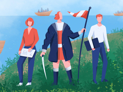 Columbus finding way - Blog illustration sea history corporate characters discovery finding columbus procreate graphic design illustration